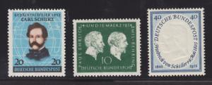 Germany Sc 691, 722, 727 MNH 1952-55, 3 w/ small faults