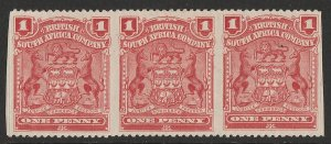 RHODESIA : 1898 Arms 1d strip of 3, error IMPERF VERTICALLY.