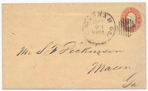 CSA Cover US Star Die Postal Stationery Used in Savannah, GA Feb 21, 1861 VF