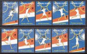 Marshall Islands 188a-189e Summer Olympics Singles MNH VF