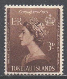 Tokelau Scott 4 - SG4, 1953 Coronation 3d MH*