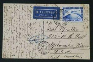1928 Germany Milwaukee Wisconsin Graf Zeppelin LZ 127 #C36 RPPC Postcard Cover