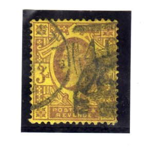 Queen Victoria 1887 3P violet Yellowish paper sg202 used