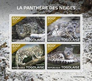 TOGO - 2019 - Snow  Leopard - Perf 4v Sheet  - M N H
