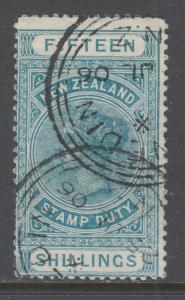 New Zealand Sc AR13, SG F32, used. 1886 15sh dark green QV Postal Fiscal