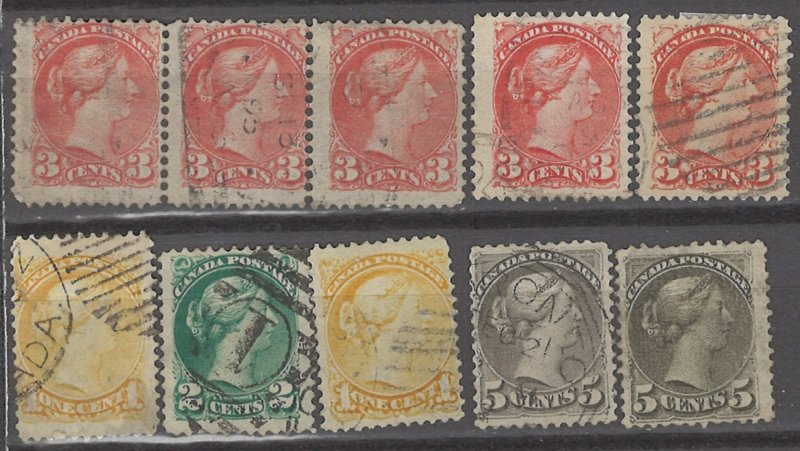 COLLECTION LOT # 3130 CANADA 10 STAMPS 1870+ CLEARANCE CV+$19