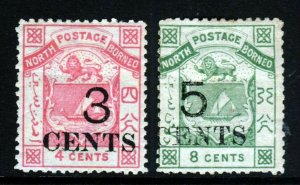 NORTH BORNEO 1886 3 Cents & 5 Cents Surcharged Perf.14 Set SG 18 & SG 19 MINT