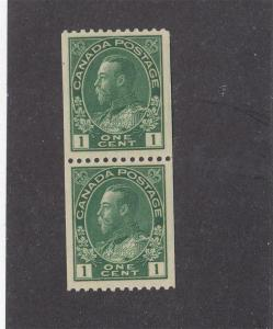 CANADA (MK1304) # 131 VF-MNH  1cts  KGV ADMIRAL COIL PAIR /GREEN CAT VALUE $50