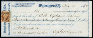 c051 U.S. R15c on Feb. 1870 check, Hotchkin Gate & Co., Watertown, NY Saddlery