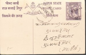 India - Jaipur State Postal Card  Used