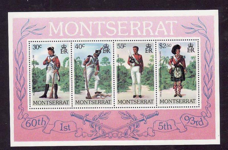 Montserrat-Sc#404a- id5-unusedNH sheet-Military-Uniforms-1979-