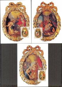 Liechtenstein 2001 Christmas 3 Maxi Cards FDC