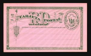 Dominican Republic 1890s UPU Pink Card Unused / 2c - Z14804