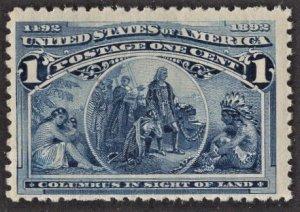 US 230 MNH F 1 Cent Columbian Exposition Blue CV $14
