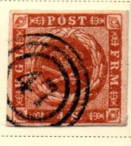 Denmark Sc 4 1851 4 Rs brown Royal Emblems stamp used #47 cancel