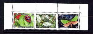 New Caledonia 761 MNH 1997 insects strip of 3 (been folded)