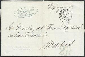 FRANCE TO SPAIN 1855 folded entire Bordeaux to Madrid via Bayonne..........49414