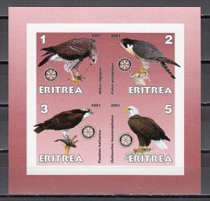 Eritrea, 2001 Cinderella issue. Birds of Prey on an IMPERF sheet of 4. ^