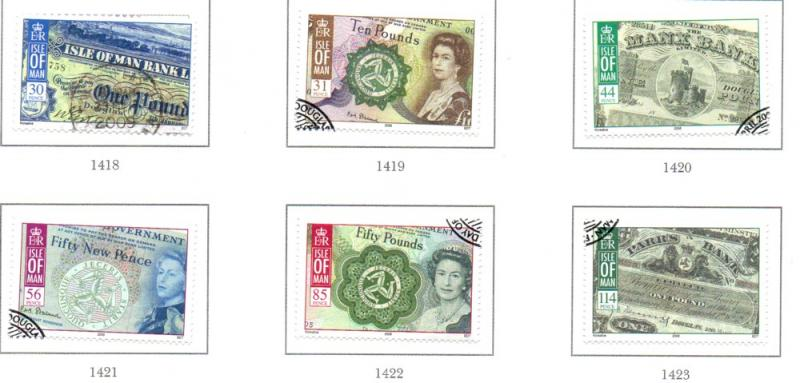 Isle of Man Sc 1252-7 2008 Manx Banknotes stamp set used