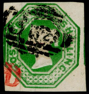 SG56, 1s deep green, CUT SQUARE, FINE USED. Cat £1000.