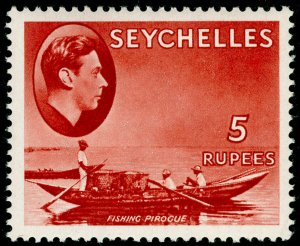 SEYCHELLES SG149, 5r red, VLH MINT. Cat £32. CHALKY.