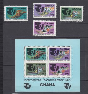 Z3928, 1975 ghana mnh set + s/s #554-8 woman,s year