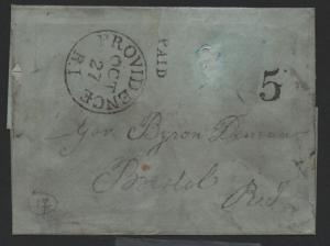 Providence RI Oct 27, 1846 CDS, PAID & 5  H/S  Stampless Cover