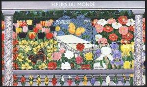 Gabon. 1997. bl92. Flowers, flora, butterflies. MNH.