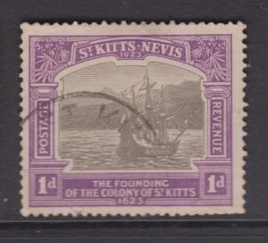 St.Kitts Nevis - Scott 53 - Caravel Old Road Bay- 1923 - FU -Single  1p -Stamp