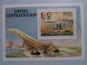 CENTRAL AFRICAN:THE WRIGHT BROTHERS AND THEIR AIR PLANE SOUVENIR SHEET, CTO