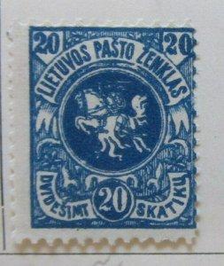 A11P4F3 Litauen Lituanie Lithuania 1919 Wmk Wavy Lines 20sk White Paper MH*