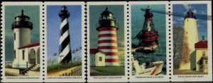 #2474b BOOKLET PANE/5 LIGHTHOUSE WHITE OMITTED WITH P.O. REJECTION MARK BQ1028
