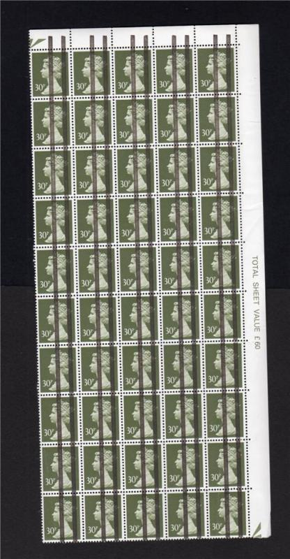 30p MACHIN UNMOUNTED MINT BLOCK OF 50x POST OFFICE TRAINING STAMPS