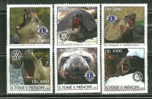 St. Thomas & Prince Islands MNH 1515A-F Various Pinnipeds SCV 9.00