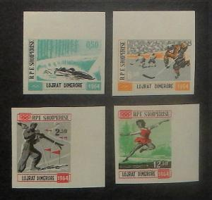 Albania 706-09 vars. 1963 Winter Olympics, imperforate