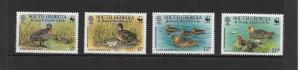 BIRDS - SOUTH GEORGIA #162-5 WWF DUCKS  MNH
