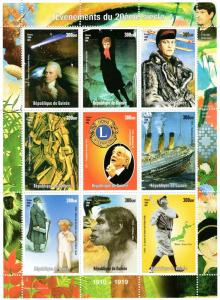 Guinea 1998  Halley's Comet/Dinosaurs/Titanic/Lions Club Shlt.(9) Perforated MNH