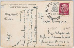 OLYMPIC GAMES  -  POSTAL HISTORY - GERMANY: postcard with special postmark 1936