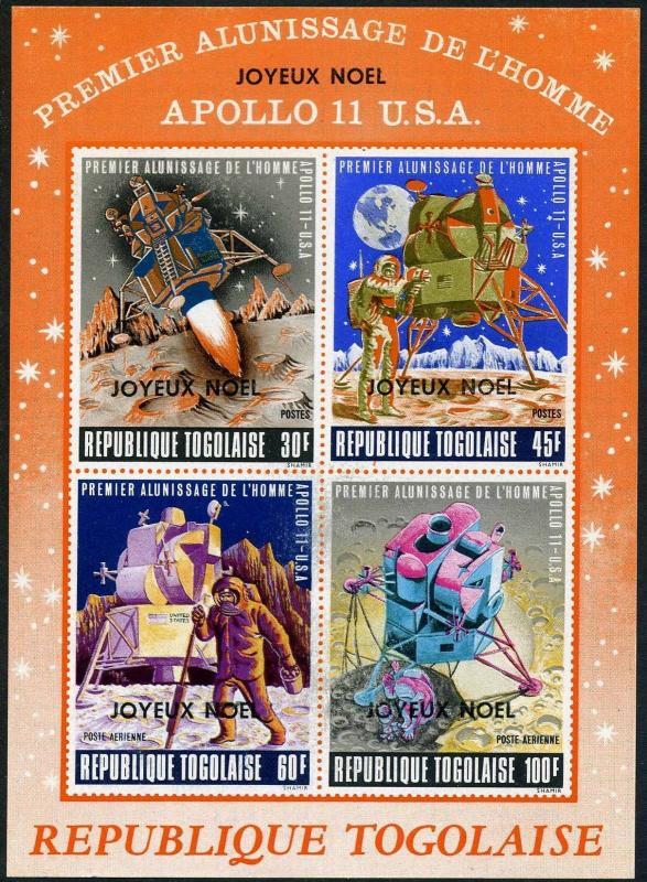 Togo C121a,MNH.Michel 767-770 Bl.440. Christmas 1969.Apollo 11,JOYEUX NOEL.