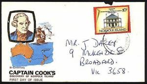 NORFOLK IS 1974 commercial use of Cook FDC - 10c to Australia..............94020