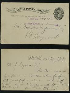 Westville Nova Scotia  postal card UX 14  faults 1896
