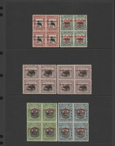 NORTH BORNEO: 1922 Malaya-Borneo Exhibition set + shade, MNH ** blocks. RARE!!