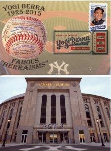 Limited Edition Yogi Berra FDC postcards- both digital and regular cancels NICE!