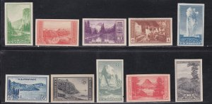 United States # 756-765, National Parks - Imperfs, 2 with minor tears, Unued