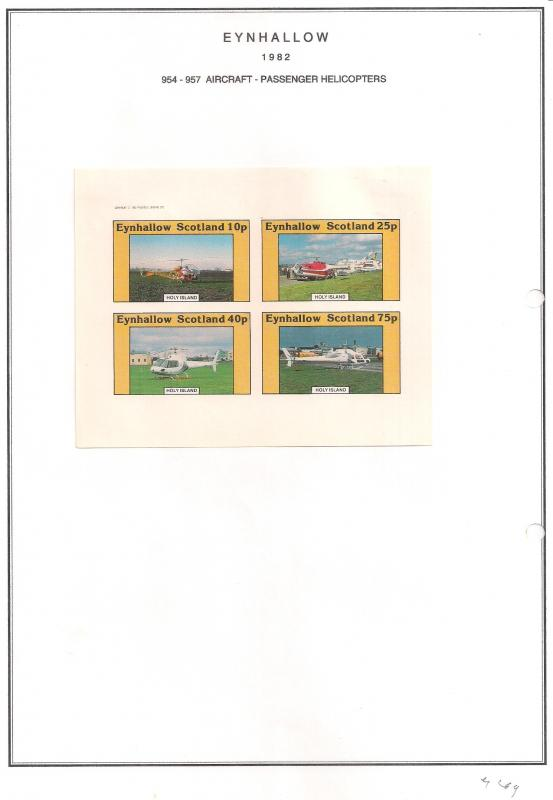 SCOTLAND - EYNHALLOW - 1982 - Pass Helicopters - Imperf 4v Sheet - MLH
