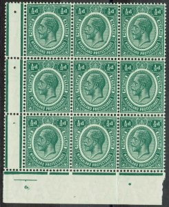 NYASALAND 1913 KGV 1/2D BLOCK MNH ** WMK MULTI CROWN CA