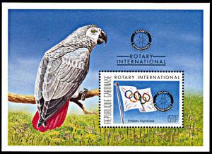 Gabon 821, MNH, Rotary International souvenir sheet, Olympic Flag, Parrot