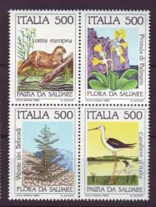 J22655 Jlstamps 1985 italy set blk,s 4 mnh #1637a wildlife