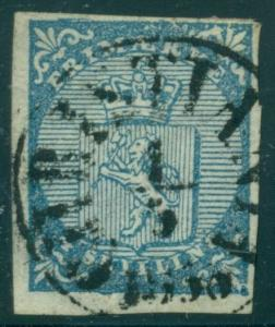 NORWAY #1 (1) 4sk Lion, used w/Christiana town cancel, VF Scott $175.00