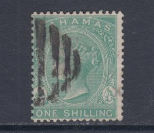 Bahamas Sc 23 used 1898 1sh blue green Queen Victoria